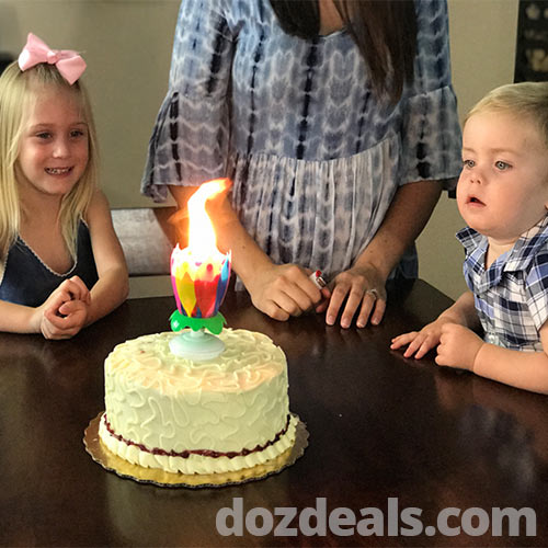 Lotus musical birthday candle on a cake with boy and girl watching.